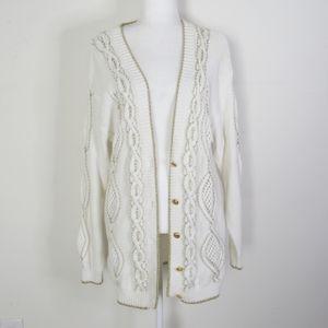 SUZELLE VTG White/Gold Knit Boxy Oversize Cardigan